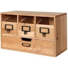 com rustic brown wood desktop office organizer drawers craft supplies storage cabinet mygift kitchen dining