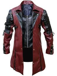 Leather Jacket Size Chart Details About Mens Steampunk Gothic Leather Maroon Coat