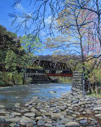 wills creek through the narrows spring looking west april 2016 original oil painting by james c groves