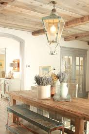French Country decor in dining room with rustic farm table, aqua, lavender  and Provence ...