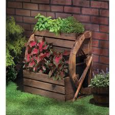 Decorative Planter Boxes Amazon Fir Wood Wagon Wheel Double Tier Planter Plant Stand 34