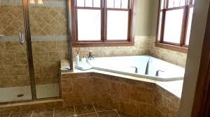 ... Stunning Corner Bathtub Ideas With Travertine Tiled Floor