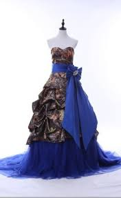 luxurious sweetheart pick ups camo wedding gown with blue sash and