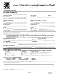 Iowa 4-H Medical Information/release Form (Adult) Year