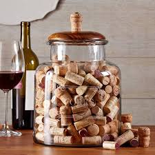 Large Decorative Glass Jars With Lids Large glass jar for storing corks with a handsome mango wood lid 31