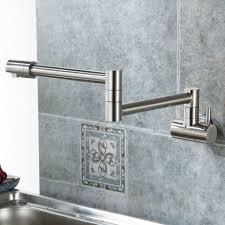 wall mounted pot filler kitchen faucet w double joint swing arm brushed nickel
