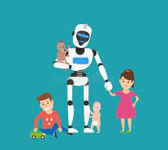 Niñera Robot con niños ilustración del vector. Ilustración de futurista -  196768062