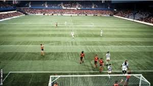the scene at the first ever football league game on an artificial surface in september 1981 when qpr lost 2 1 to luton in a second division match at loftus