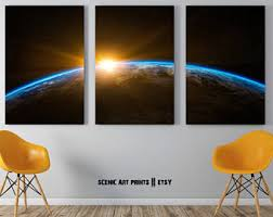 Outer Space Earth 3 Piece Printable Set, Outer Space, Wall Art, 3 Piece