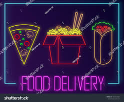 Dark Background Light Text Pizza Wox Shawarma Neon Signs Text Stock Illustration 1355353022