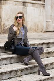 gray leather jacket outfit with over the knee