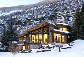 small modern mountain house plans new ski lodge home with rear view