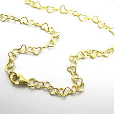 gold necklace gold bracelet gold anklet gold plated vermeil sterling silver chain heart link chain all sizes