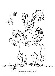 Kleurplaat Paard Schaap Haan Dieren