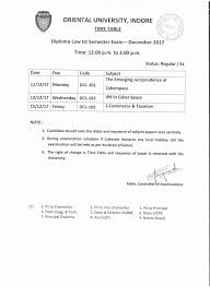 dec exam time table for diploma law oriental university