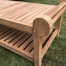 lutyens teak coffee table 136cm