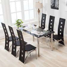 glass dining table and 6 chair set with chrome legs dining room furniture black