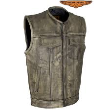 men s distressed brown leather motorcycle vest by dream apparel larger photo email a friend