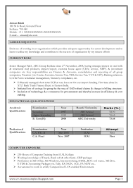 Resume Format For Freshers Accountant Free Resume Example And