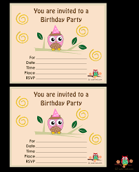 free printable invitation cards for birthday party for kids free printable owl birthday party invitations