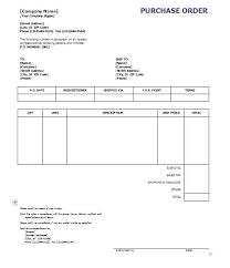 Free Purchase Order Template Excel Purchase Order Form Example Free Purchase Order Template