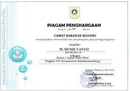 Piagam Penghargaan Juara I Sepak Bola Mini M Rendi Yanto 2016 Sdn Sentul 01