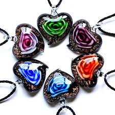 new fashion heart love rose flower inside murano lampwork glass pendant necklace 1 of 3free see more