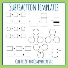 Math Templates Templates For Subtraction Math Blank Clip Art Set For Commercial Use
