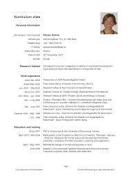 Sample Of Simple Personal Information Curriculum Vitae Template
