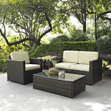 3 Piece Outdoor Patio Furniture Set with Chair Loveseat and Table