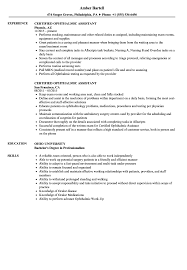 Certified Ophthalmic Assistant Resume Samples | Velvet Jobs