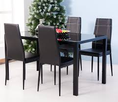 amazon merax 5pc gl top dining set 4 person dining table and chairs set kitchen modern furniture dining dinette 5pcs table chair sets