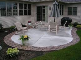 stamped concrete patio with border by