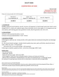 Microsoft Word Price List Microsoft Word Gulet Alba Price List 2019 Croatia Cruises Tours