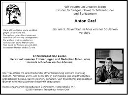 Traueranzeigen von Anton Graf   Aachen gedenkt