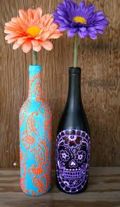 Hand Painted Wine bottle Vase, Up Cycled, Turquoise and Coral Orange,  Vibrant Henna