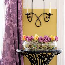 yellow paint color for walls and purple curtains modern decorating