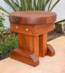 mini 12 inch round wood side table by forever redwood