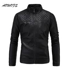 AOWOFS Mens Quilted Leather Jackets 2017 Fashion Black Vintage ... & AOWOFS Mens Quilted Leather Jackets 2017 Fashion Black Vintage Biker Jackets  Men Flocking Winter Leather Coats Adamdwight.com