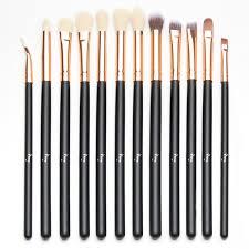 qivange eyeshadow brushes vegan cosmetic eyebrow eyeliner eyeshadow blending makeup brush set 12pcs black with rose gold amazon ca beauty