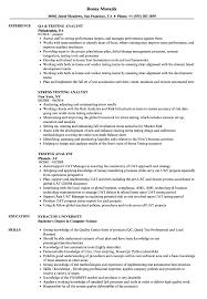 Testing Analyst Resume Samples Velvet Jobs