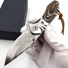 <b>JSSQ Tactical Folding Knife</b> VG10 Damascus Blade G10 Steel ...