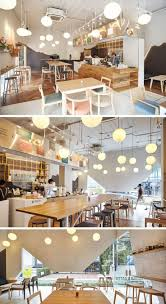 The theme of a cracked egg shell is featured throughout this modern  restaurant, that features