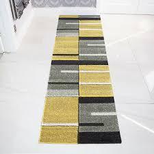 easy living ochre yellow grey patchwork rugs long narrow thin hallway runner rug