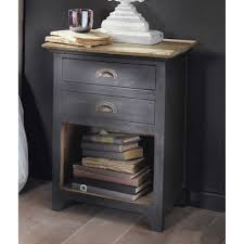 grey mango wood bedside table with 2