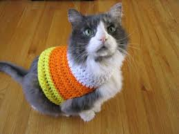 1 crocheted candy corn sweater