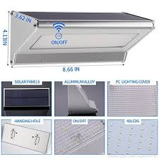 solar lights outdoor 48 led radar motion sensor aluminum alloy wireless waterproof 4 in 1 mode