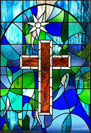 cross in center stained glass church window