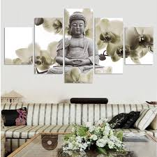unframed 5 panel large orchid background buddha painting fengshui canvas art