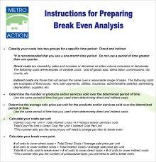 break even ysis template pdf